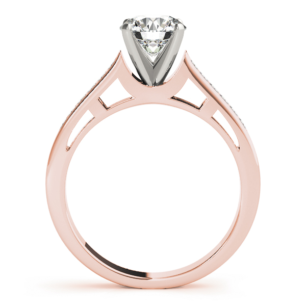 Petite Cathedral Diamond Bridal Set in Rose Gold, Princess Diamonds Accents