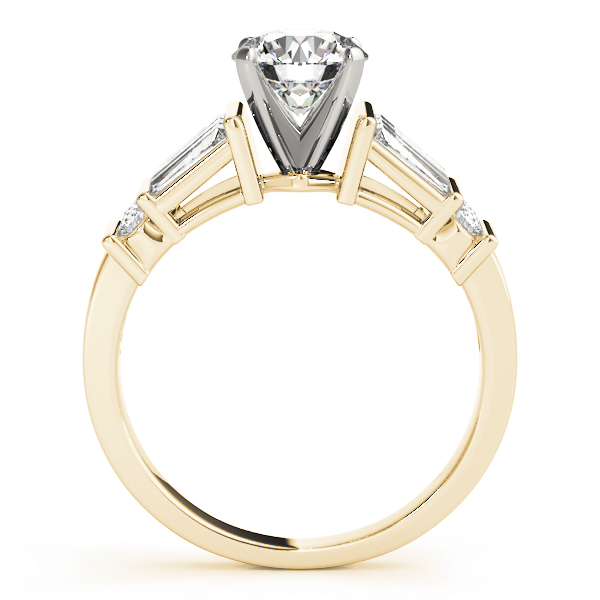Classic Baguette & Round Diamond Engagement Ring Yellow Gold