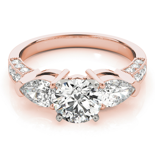 Three Stone Diamond Engagement Ring Pear Side Stones & Pave Band in Rose Gold