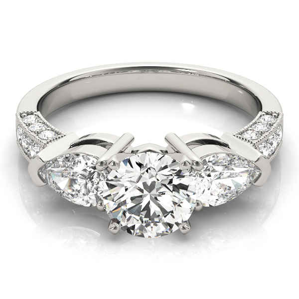 Three Stone Diamond Engagement Ring Pear Side Stones & Pave Band