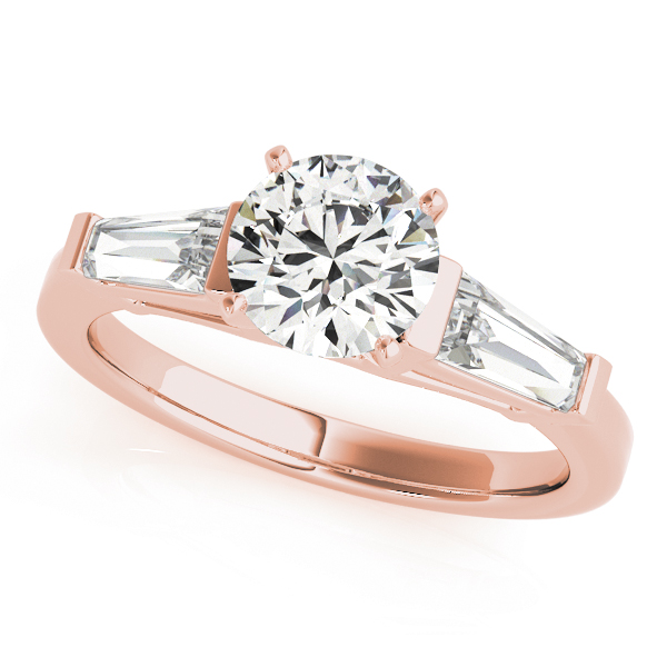 Long Baguette Diamond Engagement Ring Rose Gold