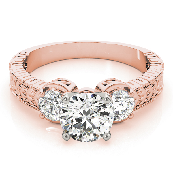 Three Stone Diamond Vintage Engagement Ring in Rose Gold