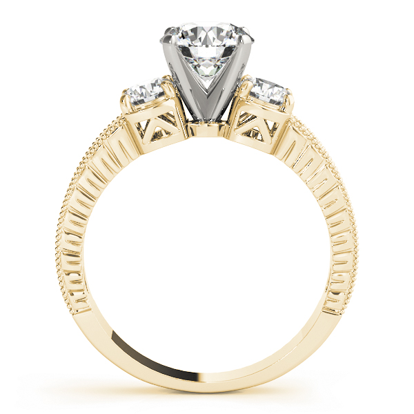Three Stone Diamond Vintage Engagement Ring in Yellow Gold
