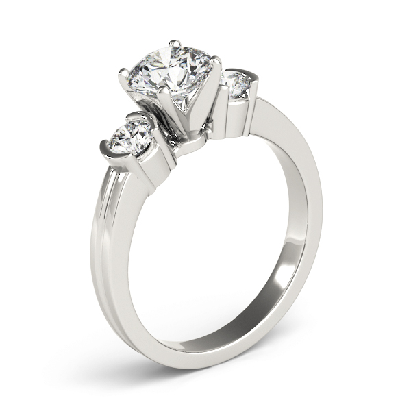 Three Stone Diamond Engagement Ring, Semi Bezel