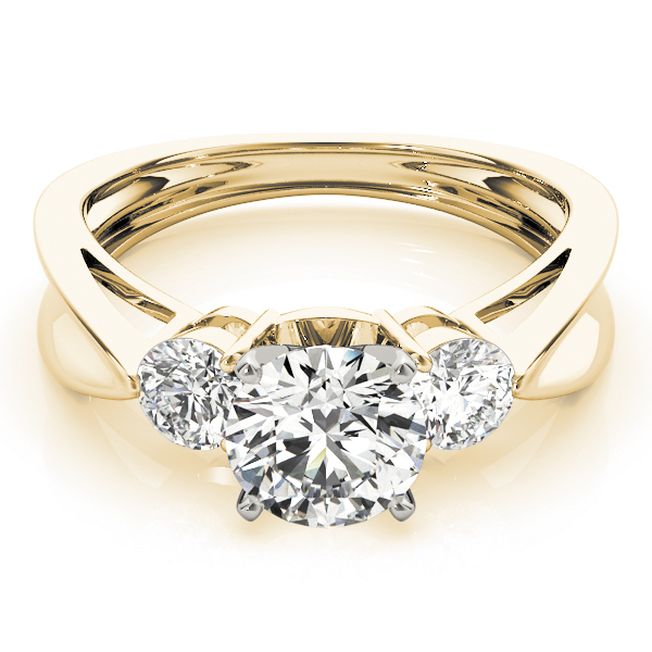 Three Stone Diamond Concaved Band Engagement Ring Yellow Gold