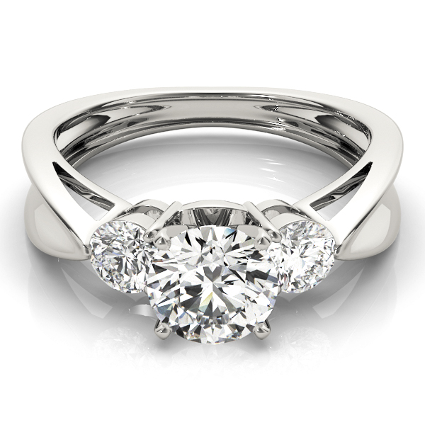 Three Stone Diamond Concaved Band Engagement Ring