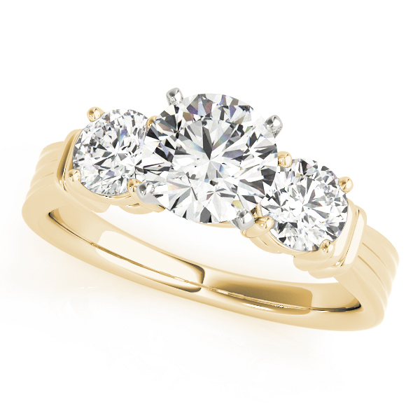Three Stone Classic Engagement Ring in Yellow Gold