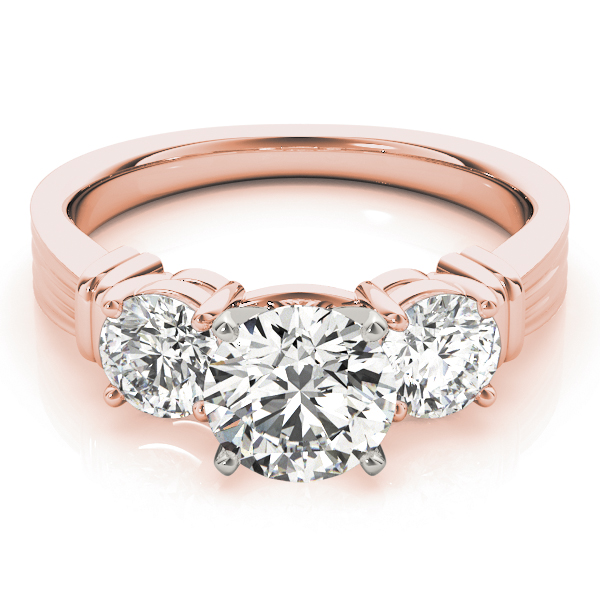 Three Stone Classic Engagement Ring in Rose Gold