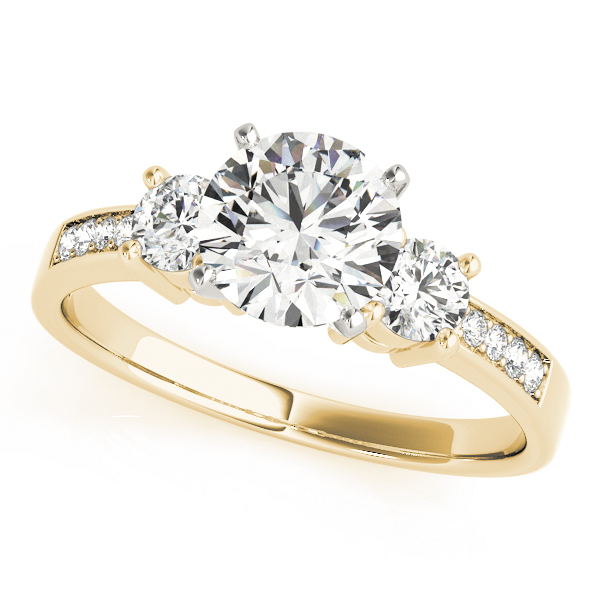 Three Stone Diamond Engagement Anniversary Ring in Yellow Gold
