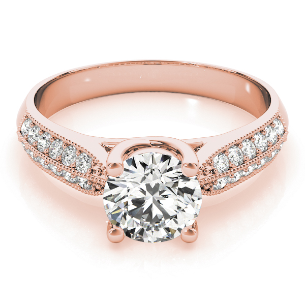 Trellis Knife Edge Diamond Engagement Ring in Rose Gold