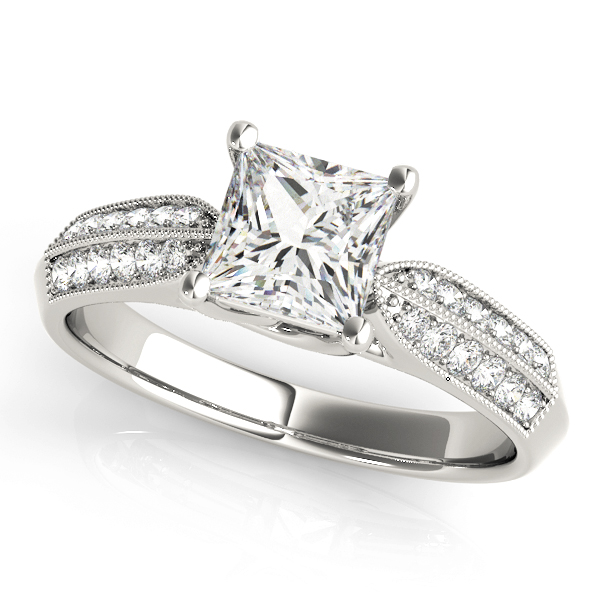 Princess Diamond Trellis Engagement Ring, Knife Edge
