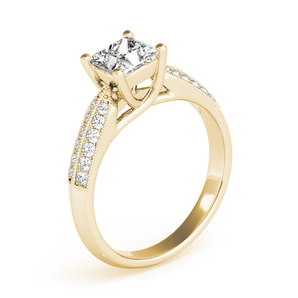 Princess Diamond Trellis Engagement Ring, Knife Edge in Yellow Gold