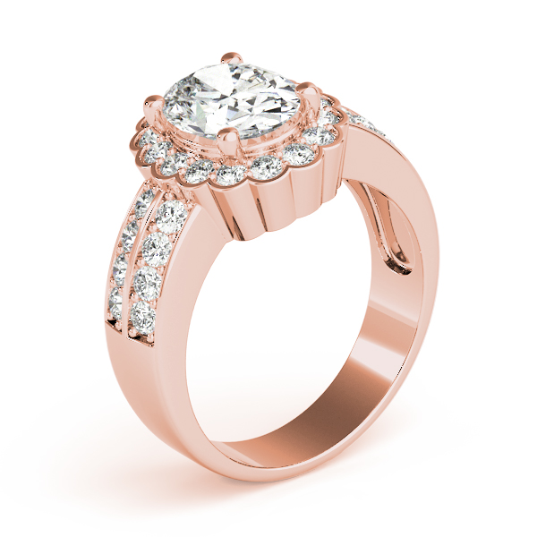 Floral Oval Halo Two Row Diamond Ring Rose Gold