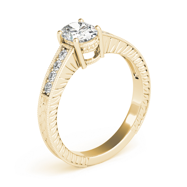 Vintage Diamond Engagement Ring with Engraved Band in Yellow Gold