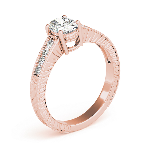 Vintage Diamond Engagement Ring with Engraved Band in Rose Gold