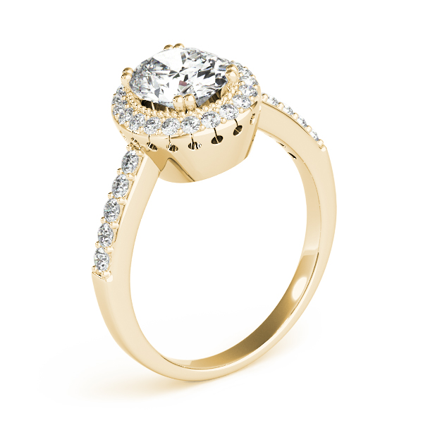 Vintage Halo Oval Diamond Ring Yellow Gold