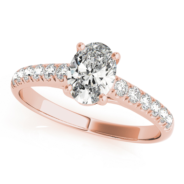 Classic Oval Diamond Trellis Engagement Ring in Rose Gold