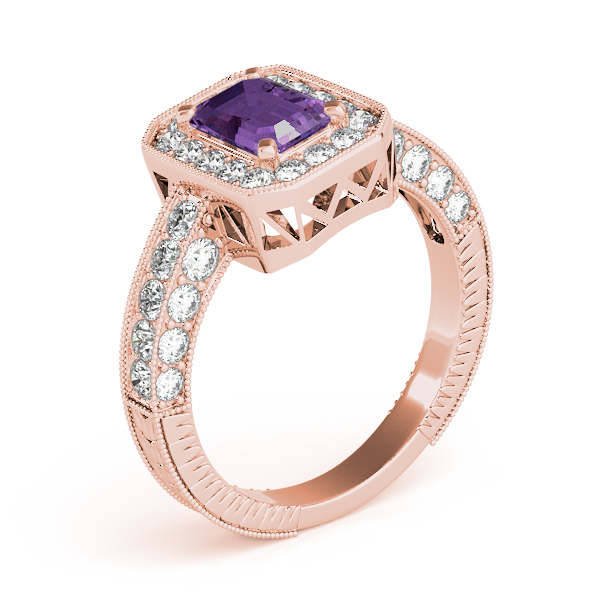 Vintage Emerald Amethyst Rose Gold Ring