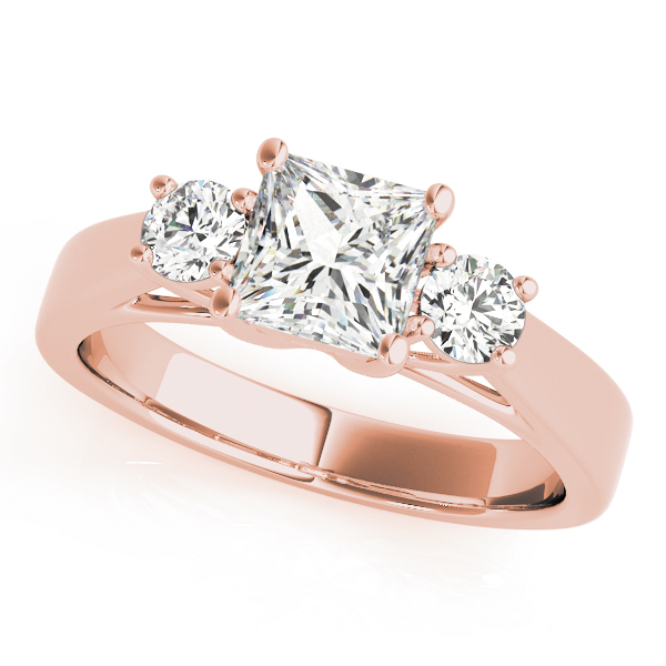 3 Stone Princess Cathedral Rose Gold Ring