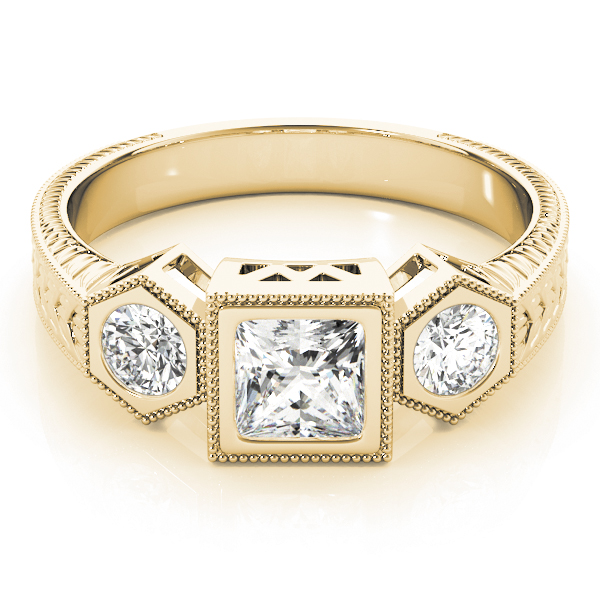 Three Stone Vintage Diamond Engagement Anniversary Ring in Yellow Gold