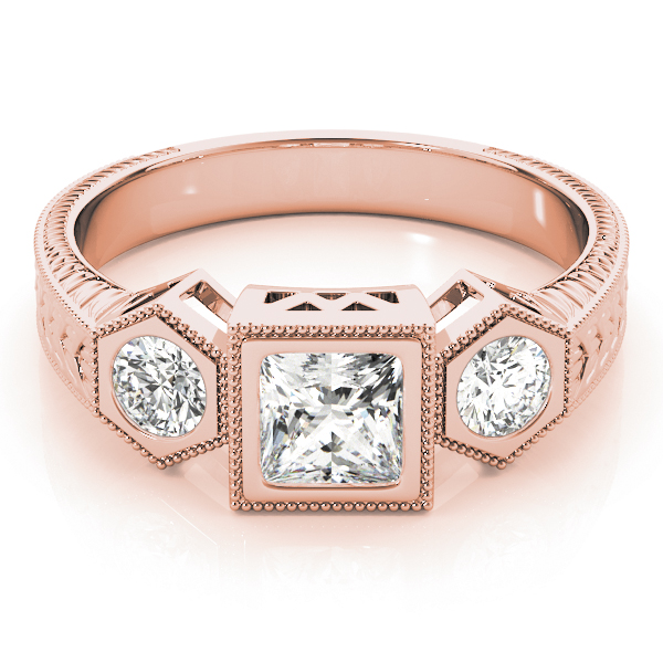 Three Stone Vintage Diamond Engagement Anniversary Ring in Rose Gold