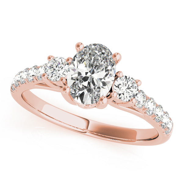 Three Stone Oval - Round Diamond Engagement Ring in Rose Gold