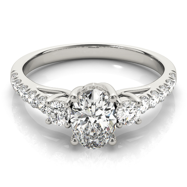 Three Stone Oval - Round Diamond Engagement Ring