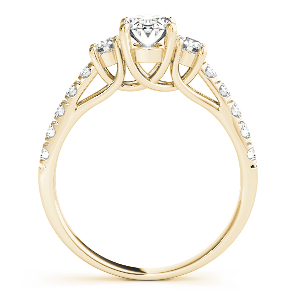 Three Stone Oval - Round Diamond Engagement Ring in Yellow Gold
