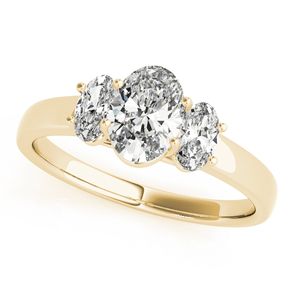 Three Stone Trellis Oval Diamond Engagement Ring in Yellow Gold