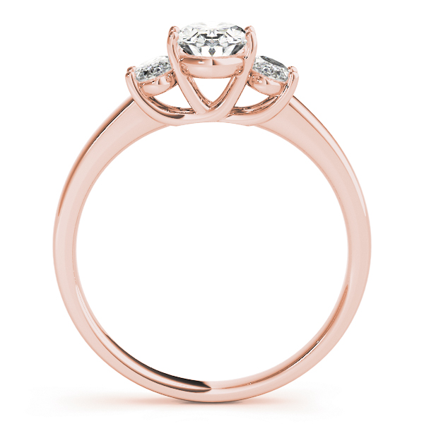 Three Stone Trellis Oval Diamond Engagement Ring in Rose Gold