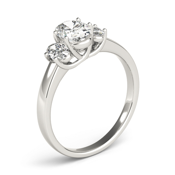 Three Stone Trellis Oval Diamond Engagement Ring
