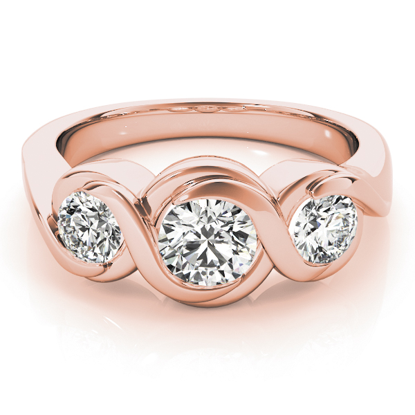 Three Stone Infinity Diamond Engagement Ring in Rose Gold