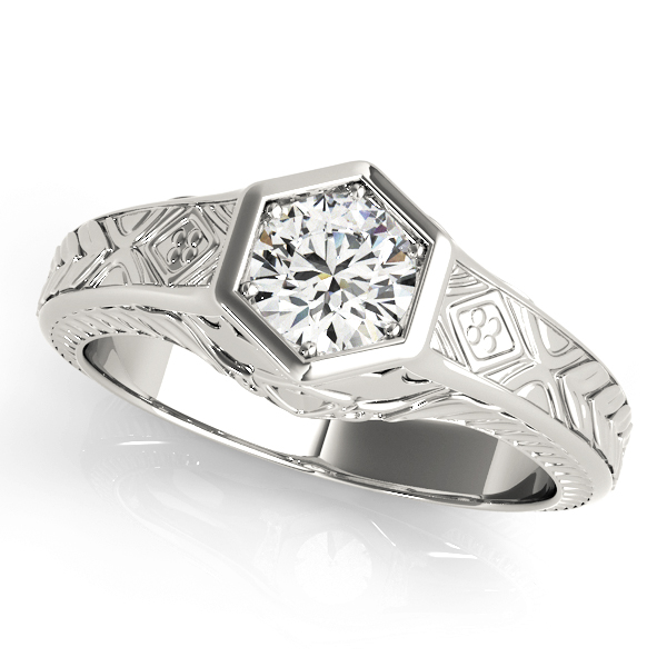 Vintage Hexagon Solitaire Engraved Engagement Ring