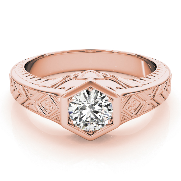 Vintage Hexagon Solitaire Engraved Engagement Ring in Rose Gold