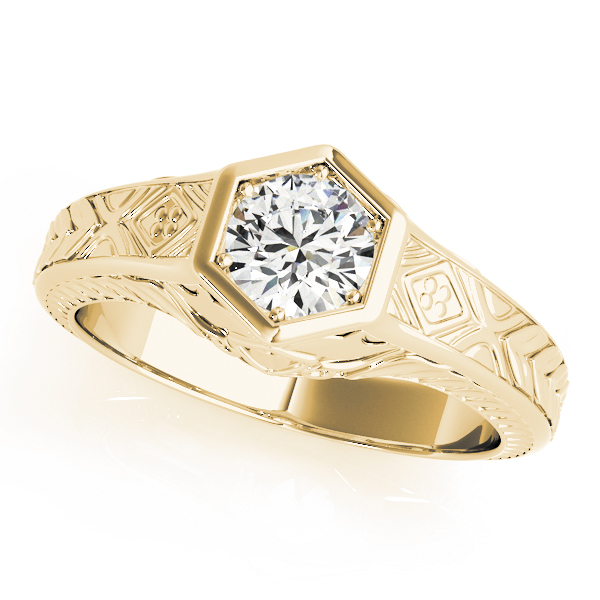 Vintage Hexagon Solitaire Engraved Engagement Ring Yellow Gold