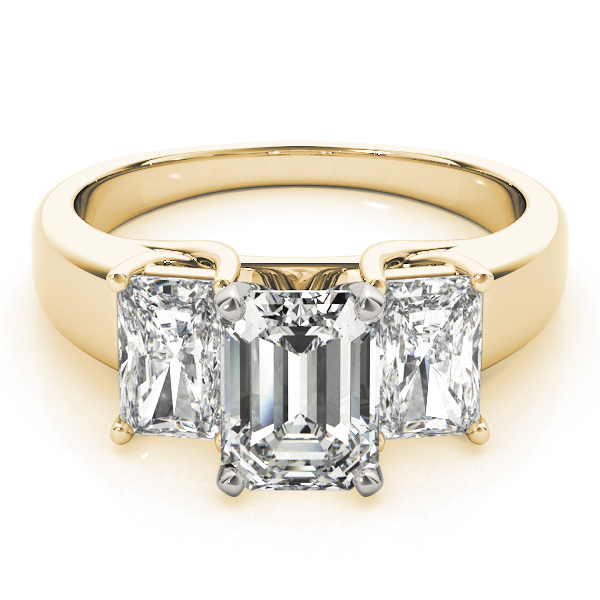 Three Stone Diamond Trellis Engagement Ring in Yellow Gold