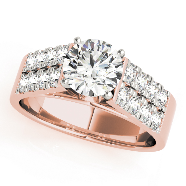 Cathedral Double Row Diamond Bridal Set in Rose Gold