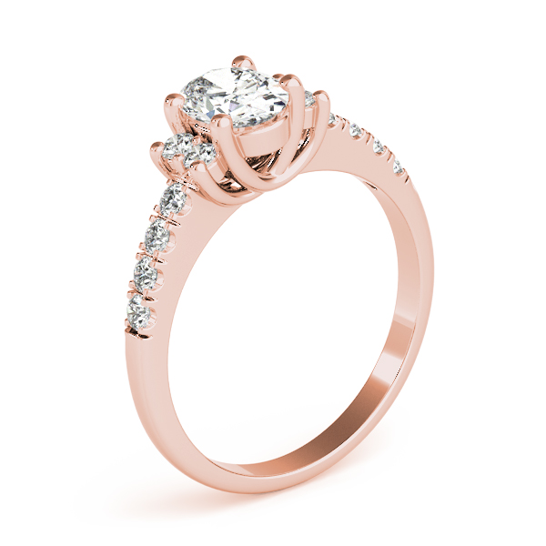 3 Stone Oval Trellis Engagement Ring Rose Gold