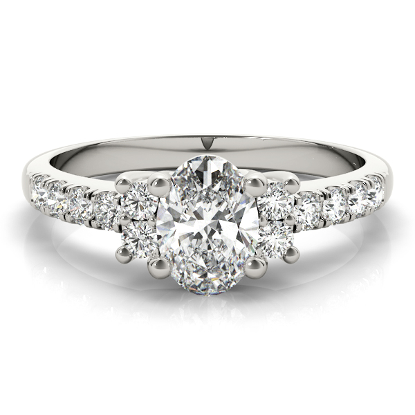 Three Stone Oval Trellis Engagement Ring