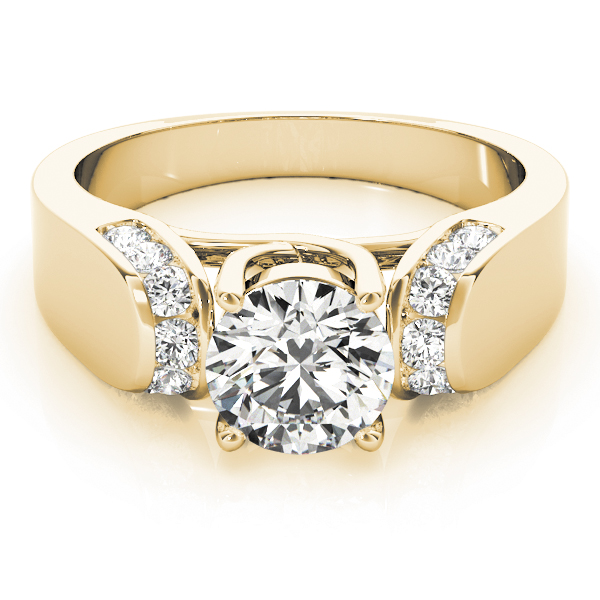 Trellis Diamond Horseshoe Engagement Ring in Yellow Gold