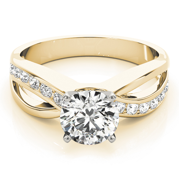 Intertwined Diamond Engagement Ring in Yellow Gold