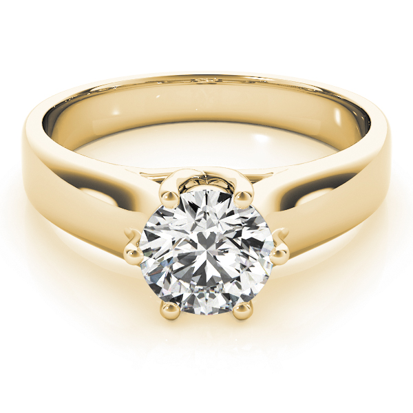 Solitaire Trellis Engagement Ring with Six Prongs in Yellow Gold