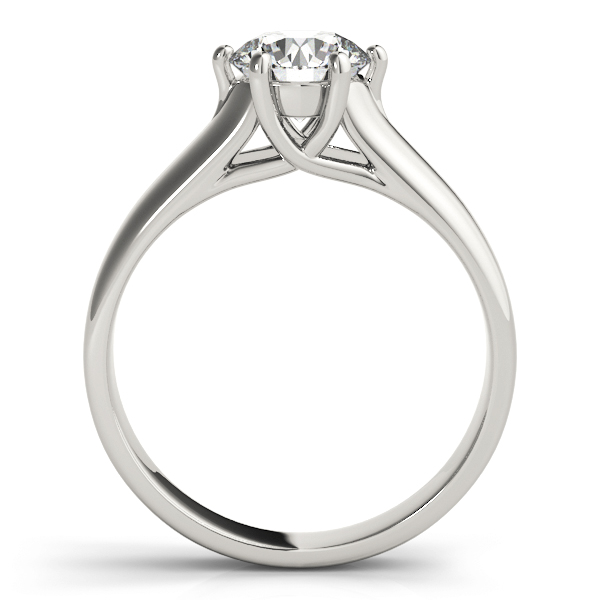 Solitaire Trellis Engagement Ring with Six Prongs in Platinum