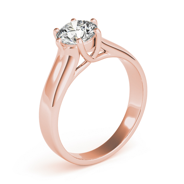Solitaire Trellis Engagement Ring with Six Prongs in Rose Gold