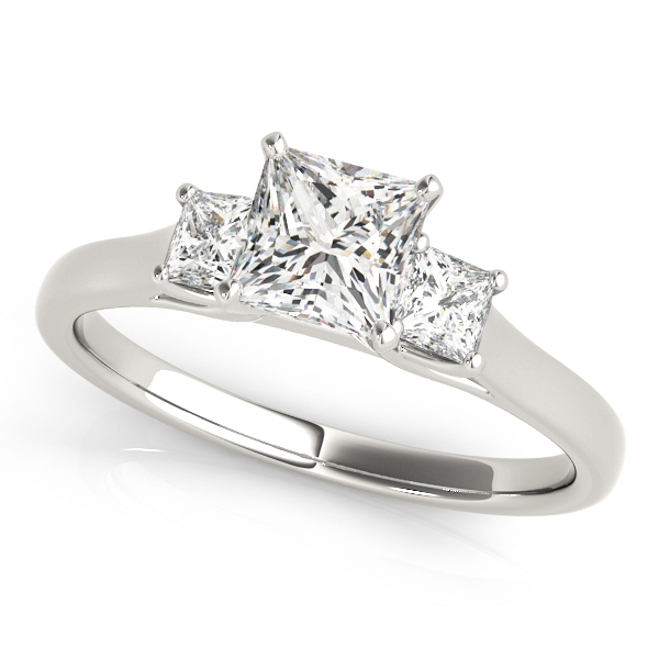 3 Stone Princess Diamond Trellis Engagement Ring