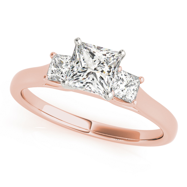 3 Stone Princess Trellis Ring Rose Gold