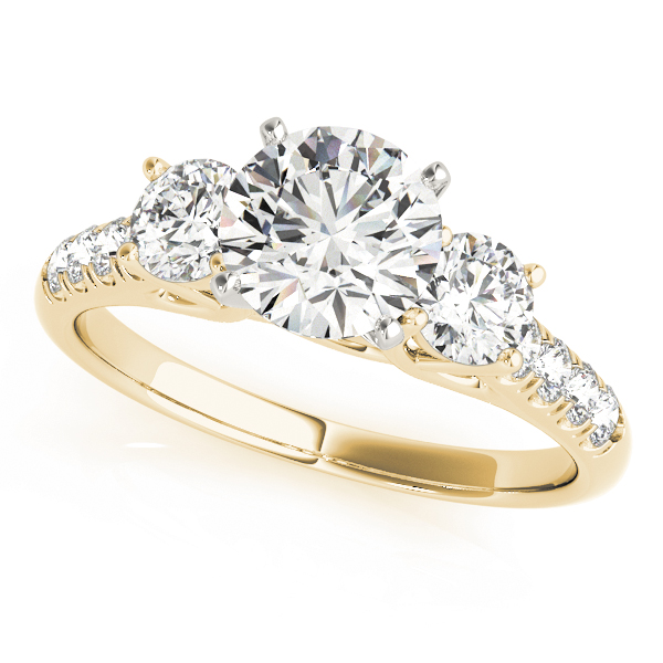 Three Stone Trellis Engagement Ring in Yellow Gold
