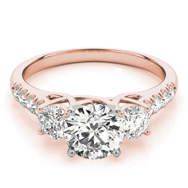 Three Stone Trellis Engagement Ring in Rose Gold