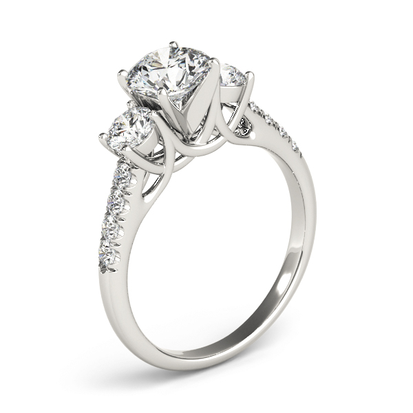 Three Stone Trellis Engagement Ring