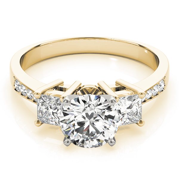 Three Stone Princess Diamond Engagement Ring in Yellow Gold